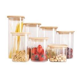 Récipient de stockage en verre borosilicaté avec couvercle en bambou/couvercle en bois/silicone Couvercles pour biscuits à l'huile de noix de miel biscuits Candy café nourriture Emballage