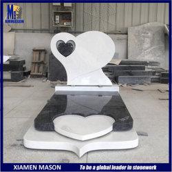 Al estilo occidental, Hunan lápida de mármol blanco con doble Talla Corazón