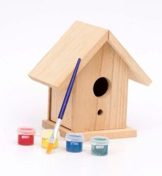 Bricolaje pintar la casa de pájaros de madera Juguetes