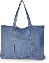 حقيبة دينيم بوت للرجال والنساء غير رسمية، سعة كبيرة A4، قابلة للطي، حقيبة بيئية خفيفة الوزن للغاية