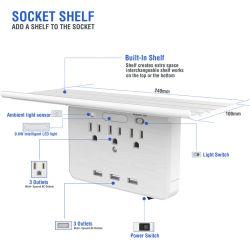 멀티 플러그 콘센트 익스텐더(USB 포함), 전기 콘센트 3 스플리터(USB 콘센트 충전기 3개 포함), 조명 포함 다중 전원 콘센트