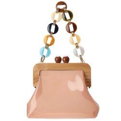 Новая конструкция естественный цвет акриловый цепь женского PU сумки через плечо с деревянными закрытия