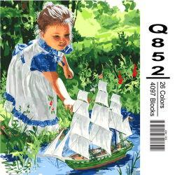 Coloritura acrilica di DIY dalla vernice del Numbers Kit la vostra propria maschera della bambina della tela di canapa