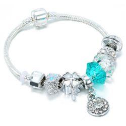 Armbanden Esg13590 van de Vrouwen van de Parels van het Kristal/van het Glas van de Armbanden van de Armbanden van de Charme van de Stijl van de zomer de Zilveren Blauwe