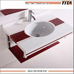 Ванная комната на прилавке Undermount поглотителей/алюминиевый стеклянной стойке/стеклянная раковина раковиной прямоугольный T-6