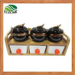 Condimento de cerámica bote de 6 unidades de rack con bambú