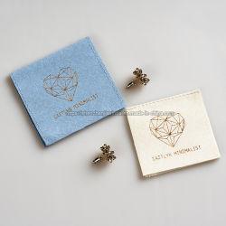 Custom Petit Bleu Crème Enveloppe rose sac de bijoux en daim microfibre