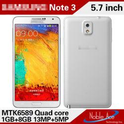 الهاتف المحمول الذكي Mt6589 رباعي المراكز مقاس 5.7 بوصات بنظام Android 4.4 (N9000)