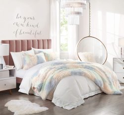 Long Faux Fur camas macias edredão cobrir define Tie Dye Impresso Luxury Shaggy Plush Consolador Definir (1 Faux Fur Edredão cobrir+ 2 Faux Fur Fronhas) , Zipper Colsure