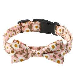 Nuevo diseño de moda ajustable hebilla de metal tejido de algodón pequeñas y medianas grandes Bowtie Collar de perro personalizado