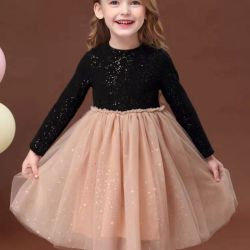 Neues Herbst-Form-Kleid, langes Hülsen-Gaze-Kleid, Baumwolle, Kleid der Prinzessin-Partei. Kind-Abnützung. Kind-Abnützung. Kind-Kleiden. Kind-Kleidung