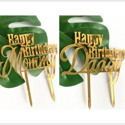 عيد ميلاد سعيد كعكة توبر إمدادات مستديرة أكريليك خبز مقلي الديكور كيوكك زفاف حفل عيد ميلاد زخرفة كعكة قمة فلوريدا