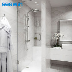Porte de douche de salle de bain battante en verre trempé de 10 mm