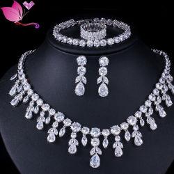 AAA の良質の立方ジルコニア銅の銀の結婚式の宝石類セット ブライダル用