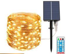 مصابيح السلسلة الشمسية، 40 قدمًا 120 LED 8 أوضاع إضاءة سلكية فضية، إضاءة فايرنية خارجية مقاومة للماء، لحفلة زفاف حديقة الفناء في عيد الميلاد