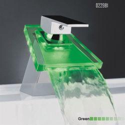 Colore di ceramica del rubinetto dell'imbarcazione del dispersore di vanità della stanza da bagno montato piattaforma che cambia lavabo del colpetto di miscelatore del bacino della maniglia della cascata del LED il singolo
