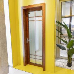 Домашняя оформление материалов из дерева цвета с алюминиевой рамкой стекла задней двери для ванной комнаты