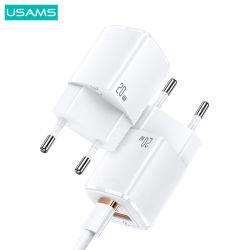 Usams Us-Cc128 Smart Phone adaptador rápido C Cable USB cargador de viaje Super Si QC3.0+Pd Teléfono móvil del Banco de potencia 20W CARGADOR RÁPIDO