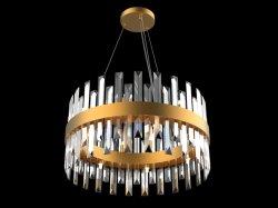 CE Tour de luxe vente chaude européen or pendentif cristal LED lumière Rectangle moderne Décoration Décoration lustre lampe pendante pour l'Hôtel Villa d'éclairage de projet