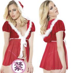 ヨーロッパおよびアメリカのクリスマスのランジェリーの Erotic 女性の網の透明なクリスマス ガールドレス