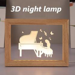 منتج جديد ضوء ليلي من تصميم مصباح مبتكر ثلاثي الأبعاد خشبي إطار الصور