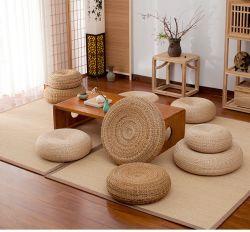 일본 스타일 두껍게 된 풋온 명상 쿠션된 다다미 라탄 라운드 요가 쿠션 내추럴 스트로 우븐 우토쿠션 푸톤