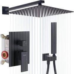 Système de douche noir douche monté sur un mur de 12 pouces à haute pression côté tête de douche et salle de bains de pulvérisation