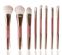 Cor-de-rosa pega de madeira Synthetic Private Label pêlos de Nylon espelho cosmético Ajuste da escova para senhoras compõem a Ferramenta de escovas 8 PCS