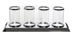 Kaarshouder van helder zilver glas met 4 kaarslicht-cup Elegant ideaal voor Home Decoration