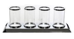 Clear Silver bougeoir en verre avec 4 tasse de Candle Light élégant idéal pour les pièces maîtresses de mariage de table à manger et décoration maison porte-bougie