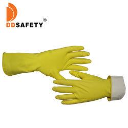 黄色再利用可能なゴムラテックス家庭用キッチン防水食器洗い用手袋