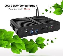 كمبيوتر شخصي صغير أسود بدون مروحة طراز INte Core i3 i5 i7 U 5010u 5200u 5500u Dual LAN Dual HDMI Port Industrial PC