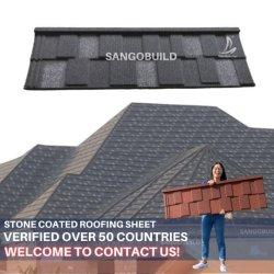 Südafrika Thatch Dach ersetzt durch neue Durable Leichtgewicht aluzinc Blech Stein Beschichtete Metall Dachplatten Preis Pro Quadratmeter