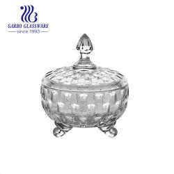 卸し売り日曜日の花デザインふた党ホームホテル(GB1837TY-2)のためのアラビア様式の足の短いガラスキャンデーピーナツ軽食の瓶が付いているガラスキャンデーの鍋
