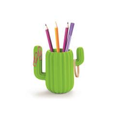 Porte-crayon créatif organiseur de bureau Stylo en pot ronde magnétique Statif porte-stylet Cactus vert en résine