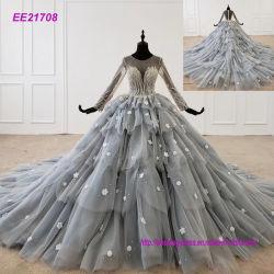 De lange Toga Ee21708 van de Bal van de Beroemdheid van de Partij van Prom van de Kralenversiering van Tulle van Kokers Grijze Blauwe Gezwollen