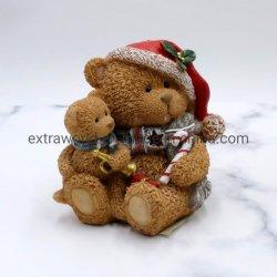 Regalo di Natale all'ingrosso orsacchiotto in resina con luce LED