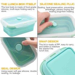 Caixa de almoço de silicone, Conjunto de 3 recipiente para armazenamento de alimentos recolhível livre de BPA com tampa Caixa de almoço Design dobrável
