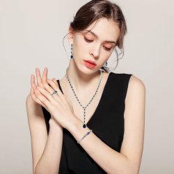 Estilo de fantasía Plata 925 joyas de moda de zafiro juego completo para regalo