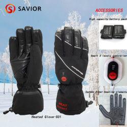 Le sauveur de l'hiver imperméables Gants de ski pour Sking chauffée, Piscine, Chauffage électrique sportives Gants Gant de neige, 3 niveaux de contrôle intelligent
