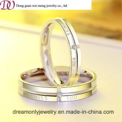 Anello d'argento dell'italiano dello Sterling 925 della fascia di cerimonia nuziale di aggancio di qualità dell'Europa