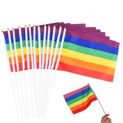 Kundenspezifisches Polyester Lgbt homosexuelle lesbische Stolz-Regenbogen-Handmarkierungsfahne