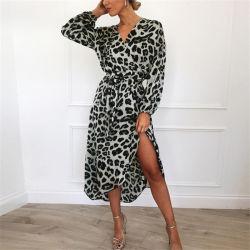 Venda por grosso de outono Office Sexy Longo Animal Moda Imprimir acetinado para senhoras vestido de camisa para Mulheres