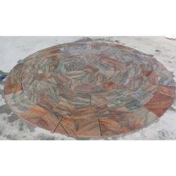 Flameado Natural mosaico multicolor de cuarcita Roja, la piscina mosaico de piedra