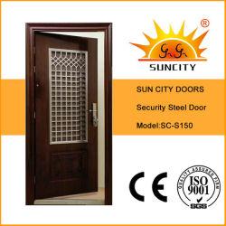 Moderner Art-rostfreier Eingangs-Stahleisen-Tür mit Fenster (SC-S150)