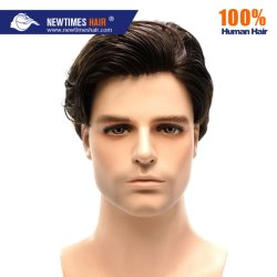 Black Color Natural Durable Human Hair Systems Herren
