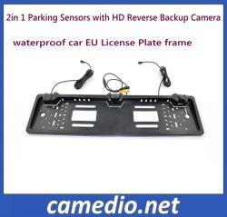 3 Placa de matrícula automóvel da UE em 1 de aluguer de vídeo do sistema de sensor de Estacionamento com câmera de ré HD
