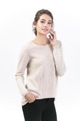 Luna 100% Cashmere jerseys de cuello de la tripulación de la mujer suéter de moda señoras