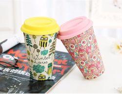 Reutilizáveis inovadoras de fibra de bambu chávena de café com borracha de silicone