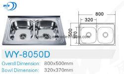 ロシアの市場8050dのための二重ボールのステンレス鋼の台所の流しの洗面器
